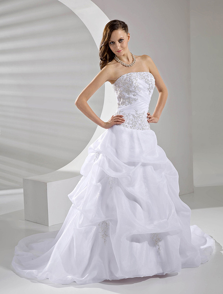 Formal Ball Gown Srapless Applique Beading Organza Wedding Dress Milanoo