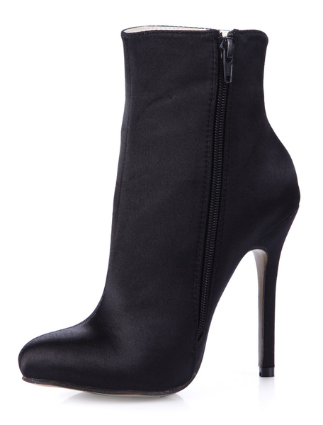 Black Pointed Toe Silk And Satin Fabulous High Heel Booties For Woman фото