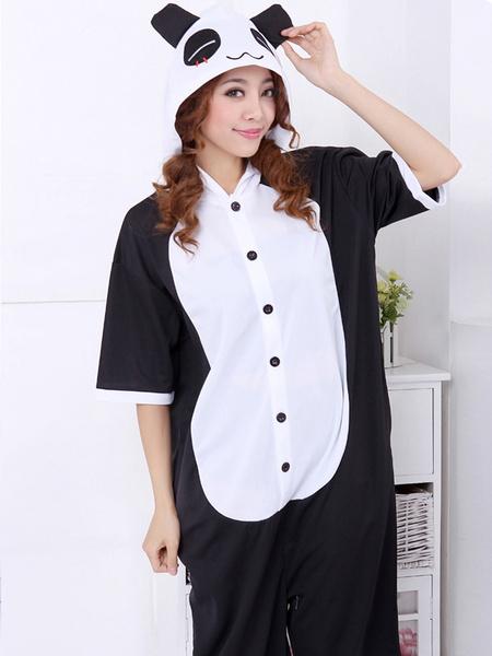 Costume de Kigurumi Adorable Noir en Coton Motif Panda