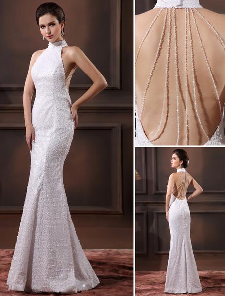 Glamorous White Sequined Halter Sequin Mermaid Wedding Dress For Bride Milanoo фото