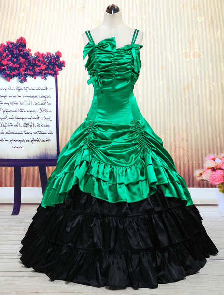 Vintage Costume Dress Women's Victorian Green Satin Ruffle Retro Maxi Dress фото
