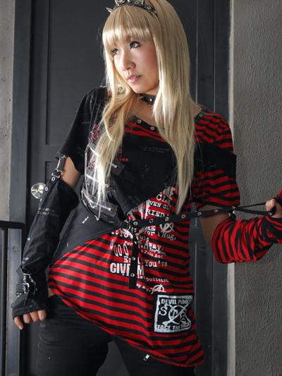 Red Stripe Pattern Cotton Blend Lolita Blouse фото