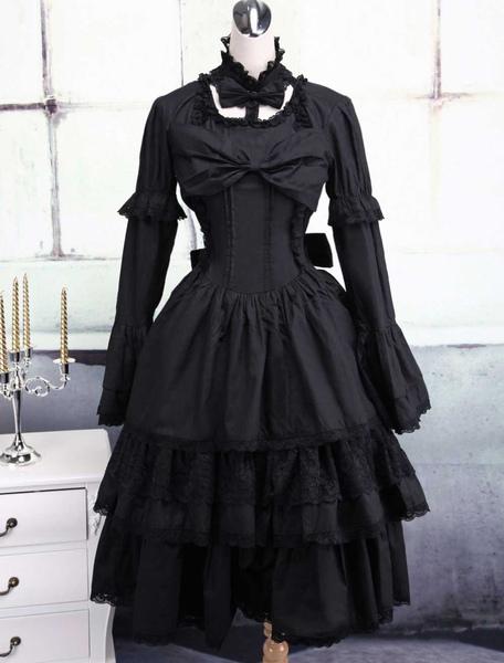 Black Cotton Gothic Lolita Dress фото
