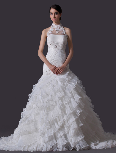 Ivory A-line Halter Sequin Chapel Train Wedding Dress For Bride фото