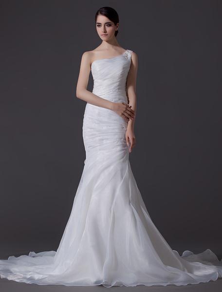 Ivory One-Shoulder Ruched Organza Mermaid Wedding Dress