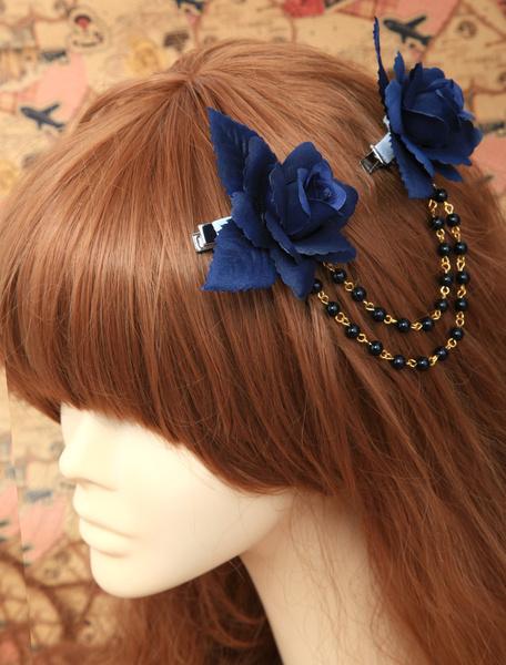 Coiffe lolita à chaîne avec fleur et perle