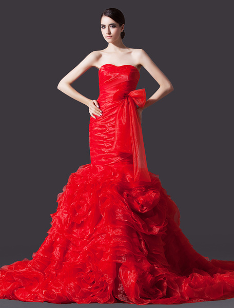 Red Mermaid Sweetheart Neck Strapless Ruched Bridal Wedding Gown