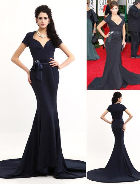 Elegant Deep Blue Satin Short Sleeve Train Oscar Dress фото