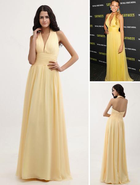 Sexy Daffodil Deep V-neck Chiffon Dress Inspired by Gossip Girl