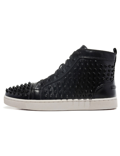 Black Sheepskin Grommets Studded Round Toe Men's Sneakers фото