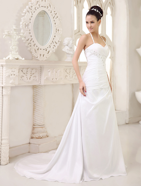 Halter A-Line Ruched Wedding Dress With Rhinestones Sweetheart & Sweep Train фото