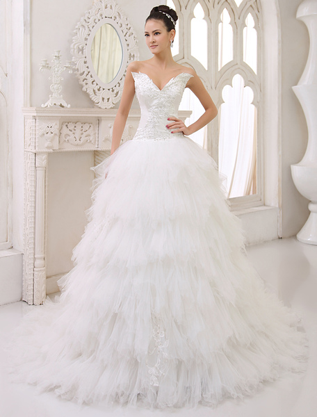 Ivory Wedding Dress Strapless Tiered Lace Up Tulle Satin Wedding Gown