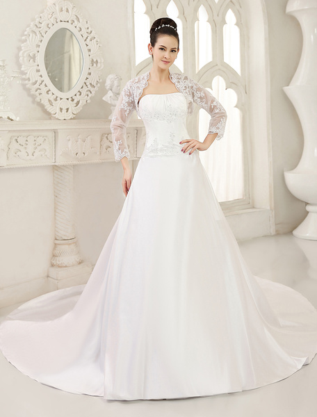 White Ball Gown Bridal Wedding Gown with Strapless Chapel Train фото