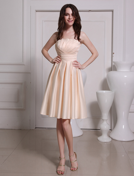 Attractive Champagne A-line Tiered Satin Bridesmaid Dress фото