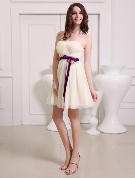 Gold Champagne Sweetheart Chiffon A-line Bow Short Bridesmaid Dress