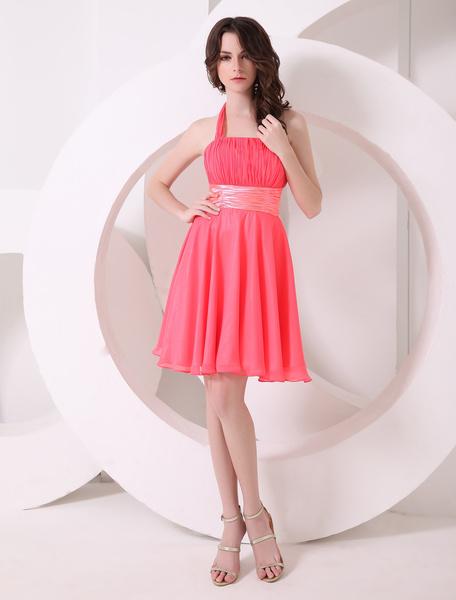 Pretty Watermelon A-line Halter Chiffon Short Bridesmaid Dress
