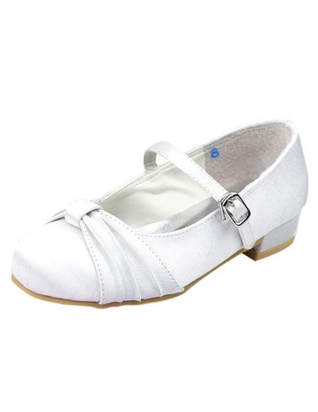 White Satin Face Bow Flat Flower Girl Shoes