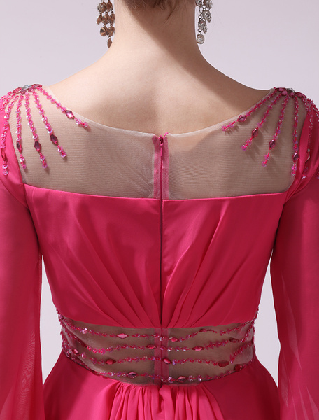 Chiffon Cocktail Dress Hot Pink V Neck Prom Dress Beaded Long Sleeve Pleated Short Party Dress Milan