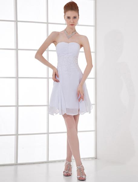A-line Chiffon Short White Graduation Dress