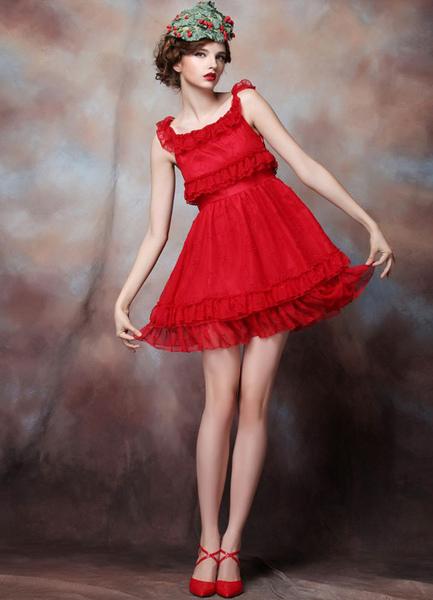 A-line Red Net Short Cocktail Dress For Women