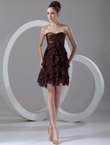Chocolate A-line Pretty Ruffles Chiffon Short Cocktail Dress with Sweetheart Neck
