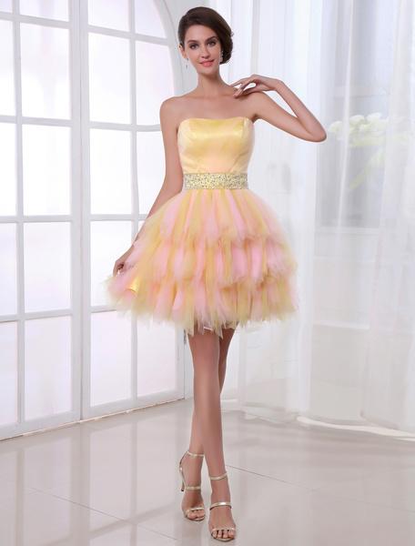 Cute A-line Net Beading Strapless Short Prom Dress