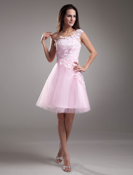Pink Homecoming Dress One-Shoulder Lace Tulle Dress фото