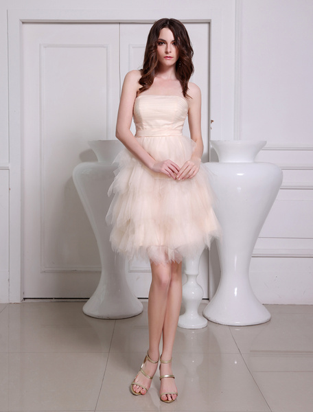Pretty Champagne A-line Tiered Tulle Prom Dress фото
