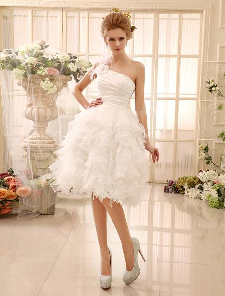 Ivory Wedding Dress Knee Length One Shoulder Flowers Feathers