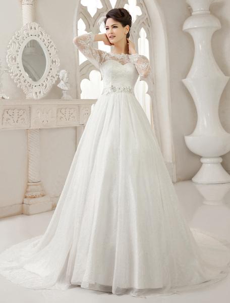 Ivory A-line Jewel Neck Lace Sweep Bride's Wedding Dress Milanoo фото
