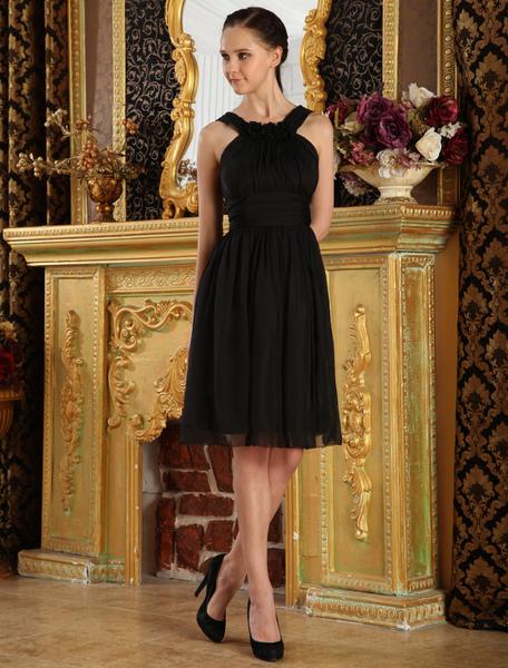 Black A-line Knee Length Chiffon Cocktail Dress