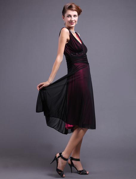 Black V-Neck Mesh Pattern Chiffon Womens Cocktail Dress