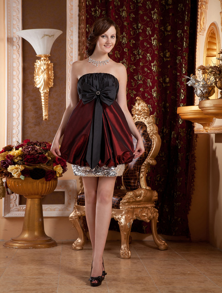 Burgundy Sheath Strapless Bow Charmeuse Cocktail Dress фото