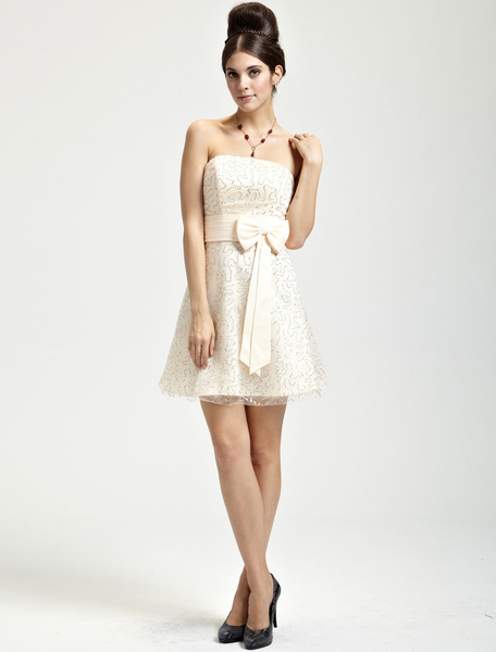 Cute Champagne Satin Strapless Knee Length Womens Cocktail Dress