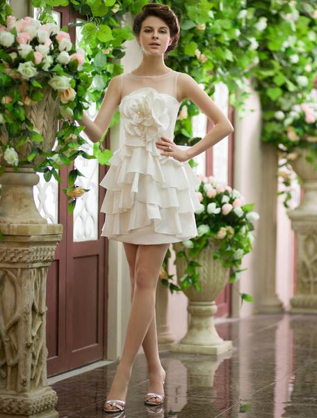 Ivory A-line Jewel Neck Sequin Short Wedding Reception Dress Milanoo