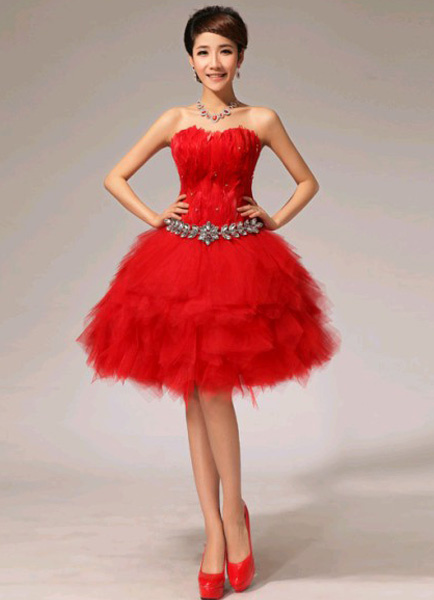 Red Feather Strapless Knee-Length Fashion Cocktail Dress фото