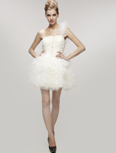 Cute White Short Homecoming Dress with Ruffled Skirt