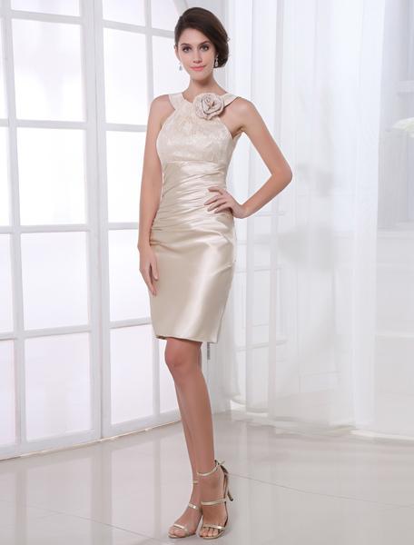 Knee-Length Lace Paneled Cocktail Dress