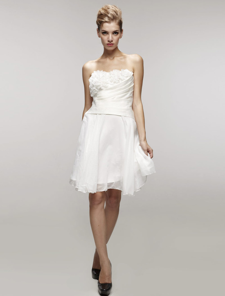 Sweet White Satin Gauze Strapless Mini Wedding Dress