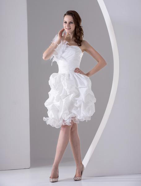 White A-line One-Shoulder Feather Taffeta Organza Prom Dress