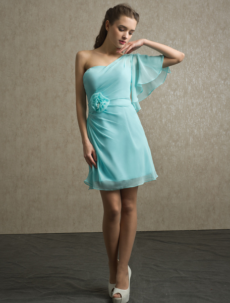 Knee-Length Beading Chiffon Bridesmaid Dress with One-Shoulder Neck фото