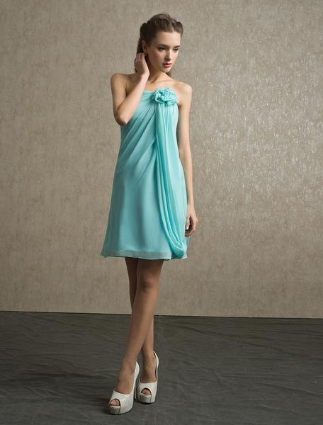 Flower Chiffon A-line Strapless Bridesmaid Dress with Elegant Knee-Length Skirt фото