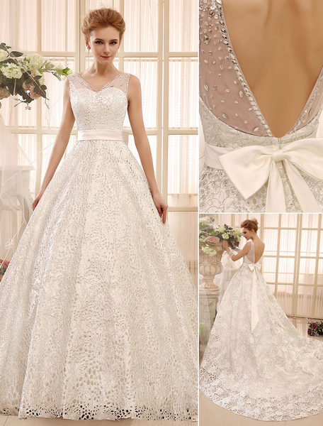 Chapel Train Ivory A-line Bow Satin Bridal Wedding Gown with V-Neck Milanoo фото