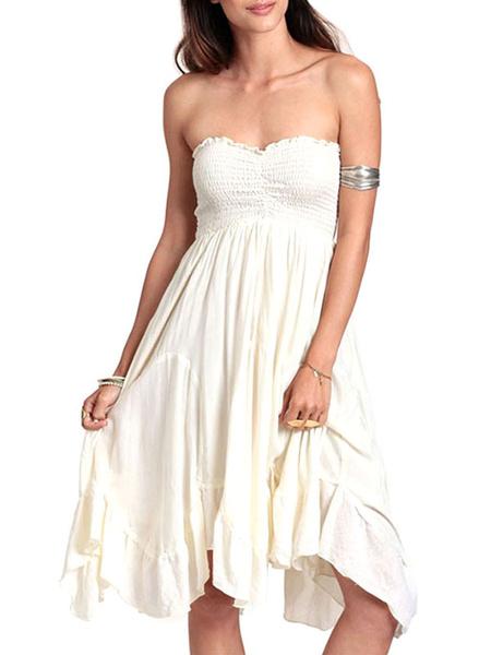 White Strapless Asymmetric Dress Ruffles Vintage Dress фото