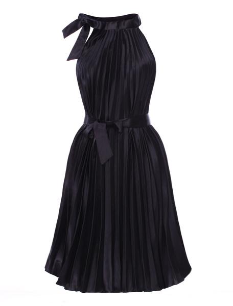 Stylish Black Silk Ribbon Sleeveless Ladies Dress фото
