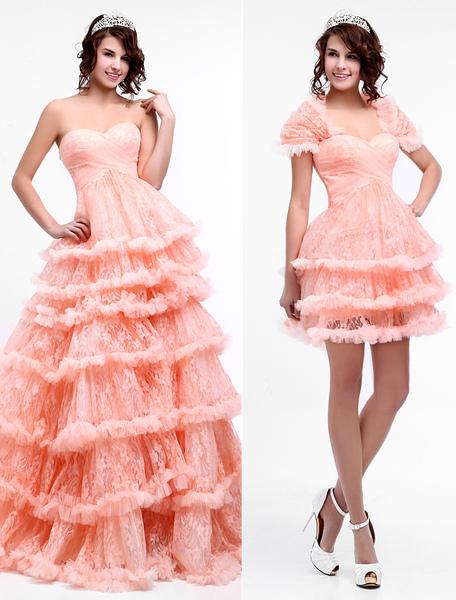 2-in-1 Prom Kleid aus Spitze mit Herz-Ausschnitt und abnehmbarem Rock in Rosa  Milanoo