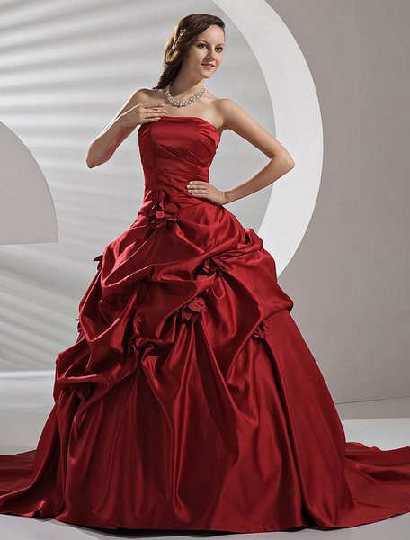 Burgundy Satin Pick-up Wedding Dress