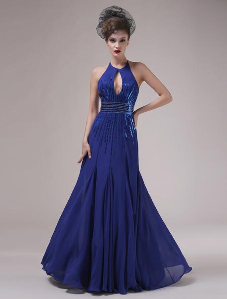 Royal Blue Halter Beading Sheath Cut Out Chiffon Evening Dress Milanoo фото
