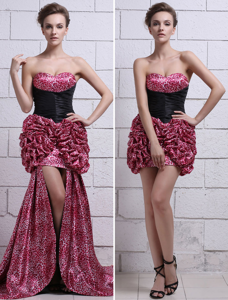 Satin Prom Dress Hot Pink Sweetheart Homecoming Dress Leopard Print Strapless Slim fit Ruched Party фото