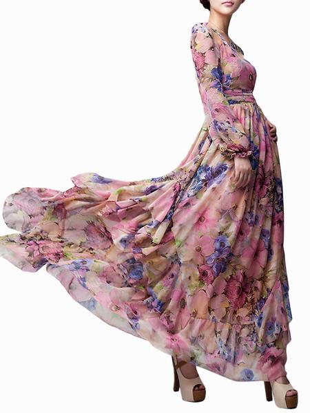 Купить со скидкой Schickes langes Kleid aus Chiffon mit Rundkragen und Printmuster in Rosa